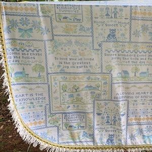 Vintage Crossstitch Sampler Printed Coverlet Twin